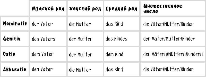 Определенный артикль и его падежи в немецком